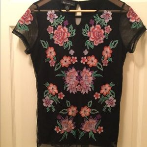 INC International Concepts Black Embroidered Top